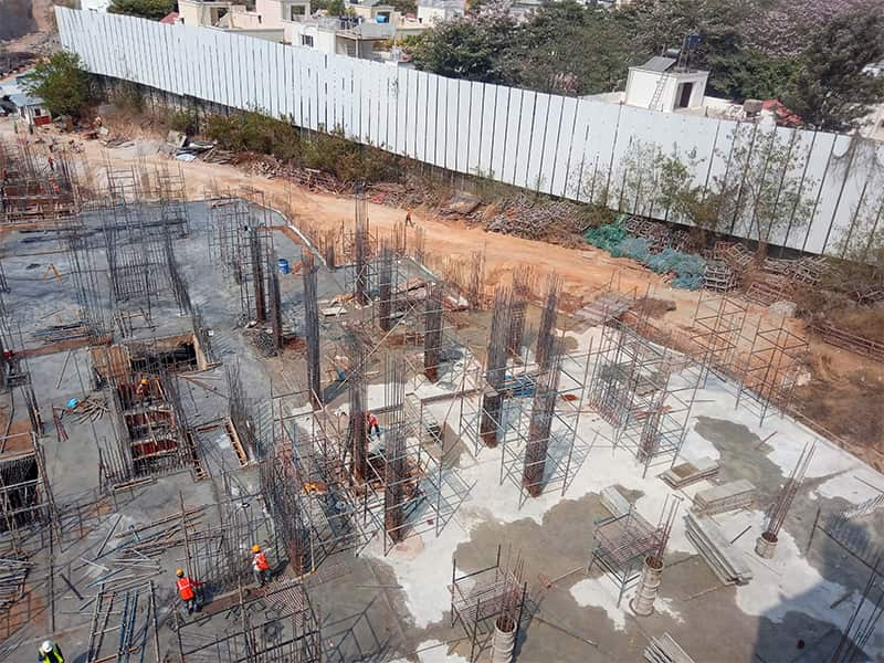 The foundation of Alpine & Aster towers in progress